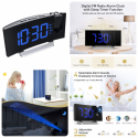 Projection Alarm Clock, Radio with USB Charger, Full Range Brightness Dimmer, Dual Alarms with 5 Sounds for Heavy Sleeper, Snooze, 5'' Curved LED Display