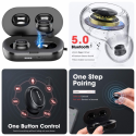 Wireless Earbuds, Bluetooth 5.0 Earbuds Deep Bass IPX7 Waterproof Binaural Calls in-Ear Headphones Earphones True Wireless Earbuds with Charging Case Built in Dual Mic for Sports Gym Black