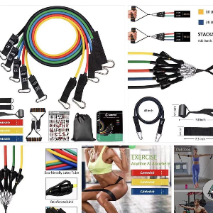 $24.98 14pcs Resistance Bands Set, Include 5 Stackable Exercise Bands with 3 Resistance Loop Bands, Elastic Bands for Exercising (A08) Campaign