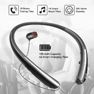 $ 27.99 Wireless Neckband Headset with Retractable Earbuds Noise Cancelling Stereo Earphones (A02) Campaign